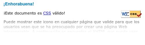 Resultado validacion CSS - VALIDO